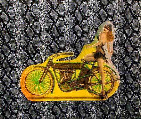 Steve Kaufman Prints for sale - Motorbike on snakeskin  More info: https://www.artetrama.com/en/artworks/steve-kaufman-motorbike-on-snakeskin  #stevekaufman #popart #motorbike #snakeskin #canvas #silkscreen #fineart #prints