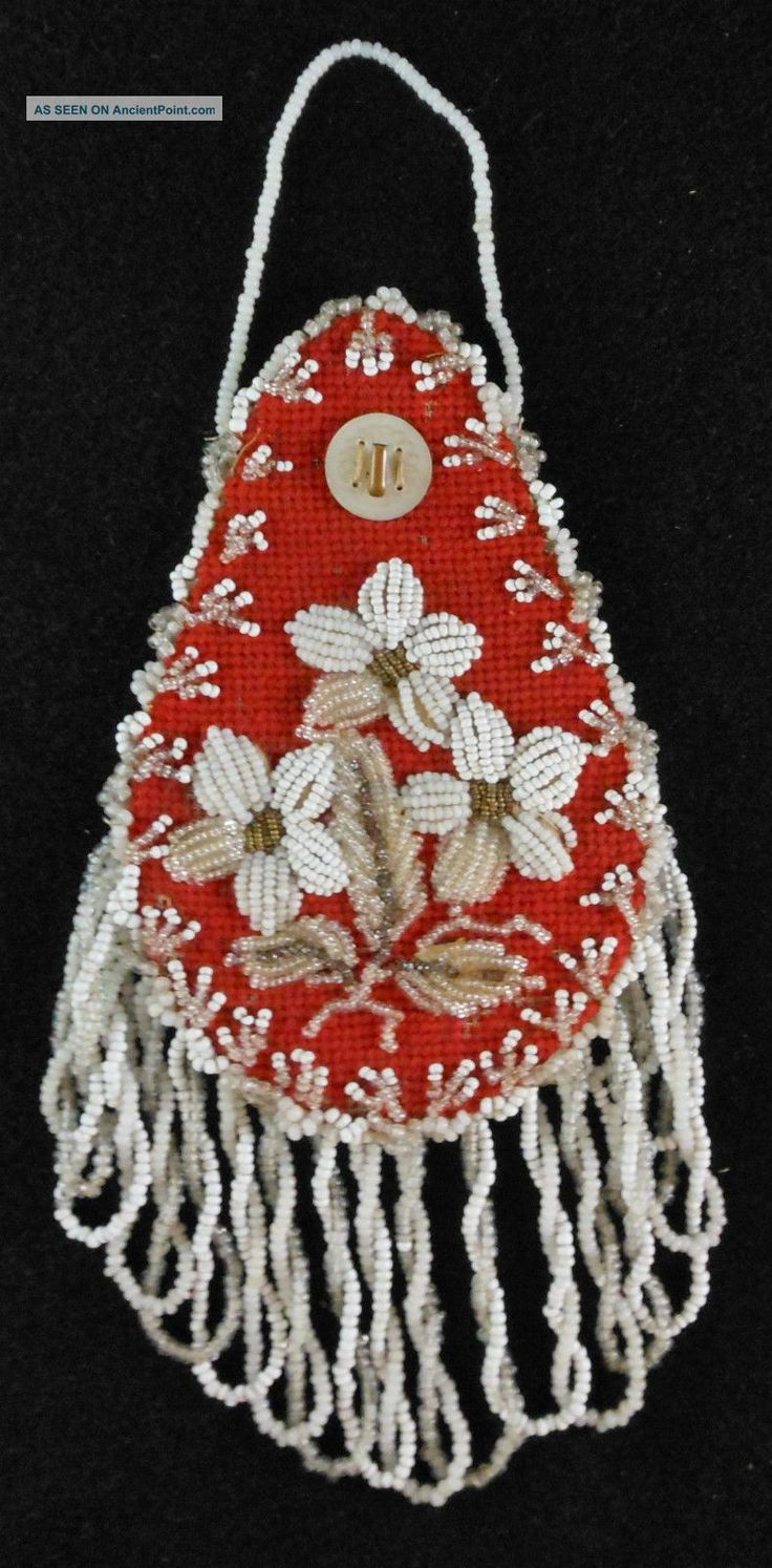 Great 19th Cen.  Mohawk Beadwork Wall Watch Hanger Floral Native American photo