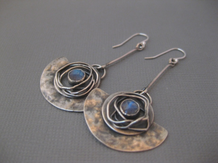 Half Moon Earrings Sterling Silver and by StrawberryFrog on Etsy