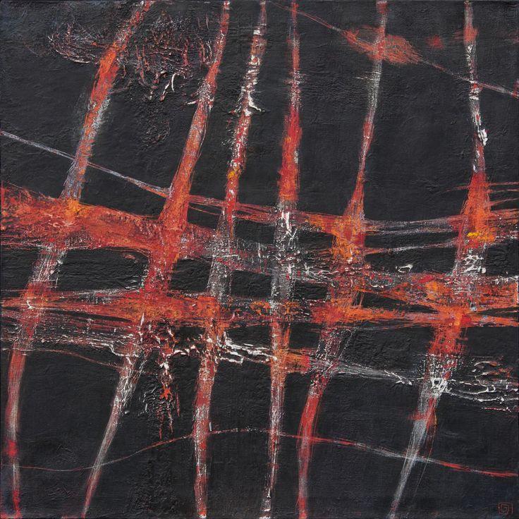 Hilos de fuego 2 de 2 oleo sobre tela 75 x 75 cm  2010