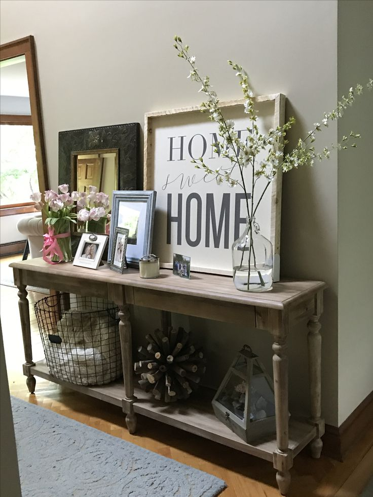 I love our World Market Everett Foyer Table in our
