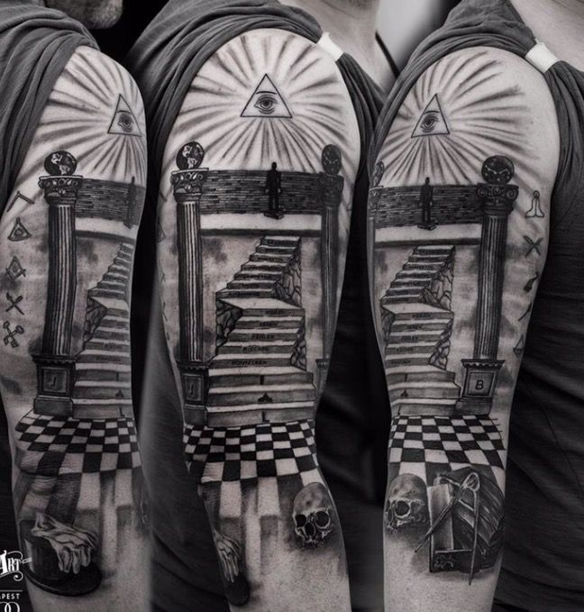 Freemason Tattoo. Realistic Tattoo, 3d Tattoo