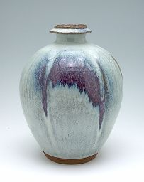 Lobed vase by Kawai Kanjiro, redish buff stoneware with variegated light blue and purple glaze, second quarter of 20th century.