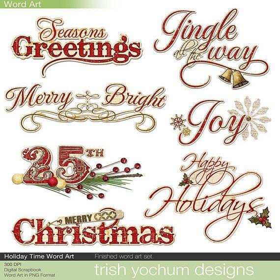 Christmas Digital Word Art Clipart Holiday Sayings