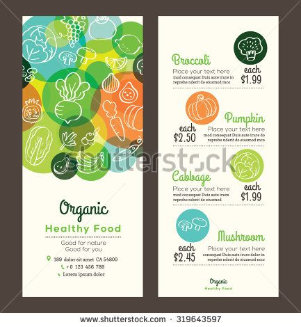 Organic healthy food with fruits and vegetables doodles illustration design template for menu flyer leaflet - stock vector