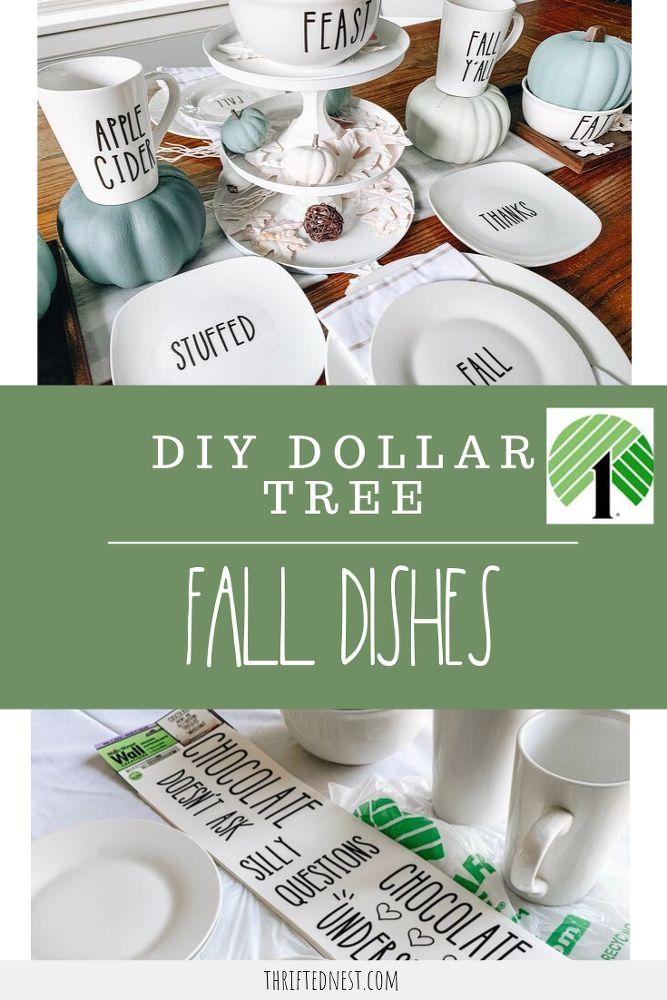 DIY Dollar Tree Fall Decor Dishes