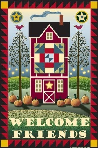 Quilt Barn Welcome Friends Primitive Garden Flag