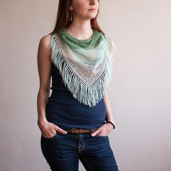 Green White Knitted Triangle Scarf / Tassels Light by RUKAMIshop