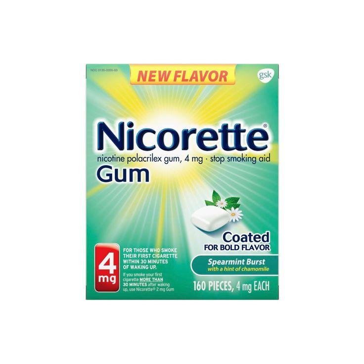 Nicorette 4mg Stop Smoking Aid Nicotine Gum - Spearmint Burst - 160ct