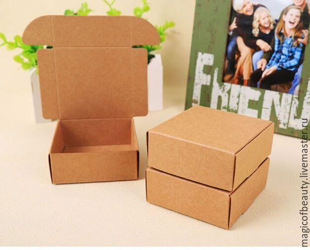 Купить Подарочные коробочки для мыла - коричневый, крафт упаковка, натуральная упаковка, подарочная упаковка