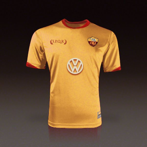 Idea for new third jersey of as roma footbal club.  Gold and red