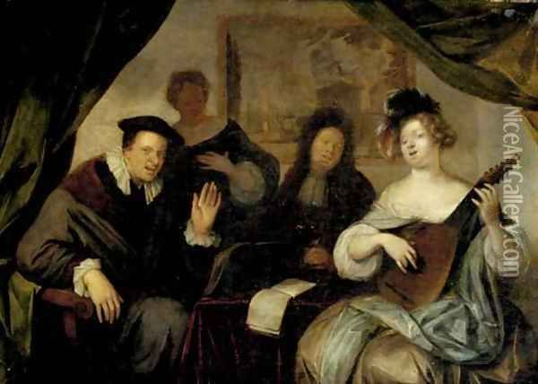 Richard Brakenburgh - A merry company making music and singing in an interior.