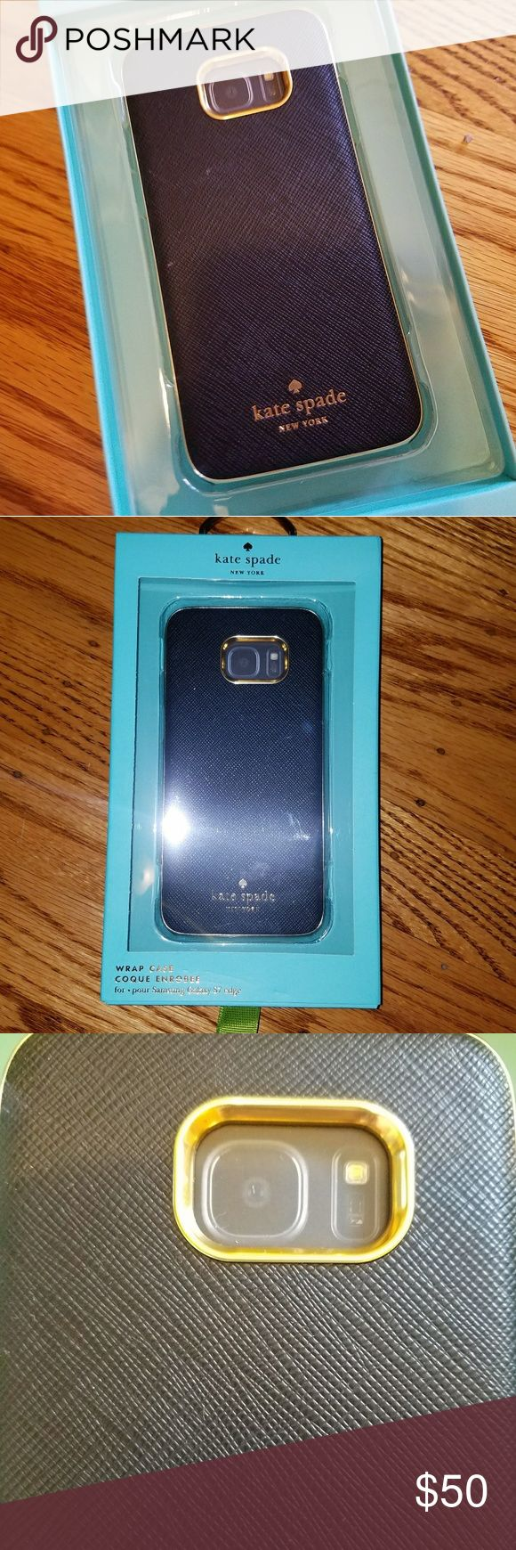 Kate spade samsung galaxy s7 edge case Samsung galaxy s7 edge phone case. Super cute leather look. Gold accents. Only used once. Comes in box brand new. kate spade Accessories