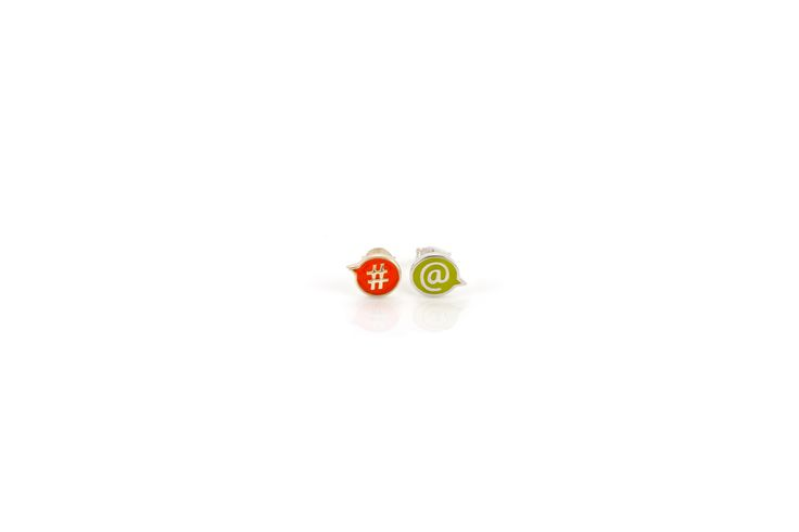'#@' fun stud earrings in silver from the new ChitChat collection by Laura Gravestock