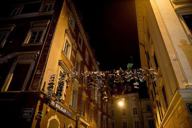 Sneakers hung in Ljubljana