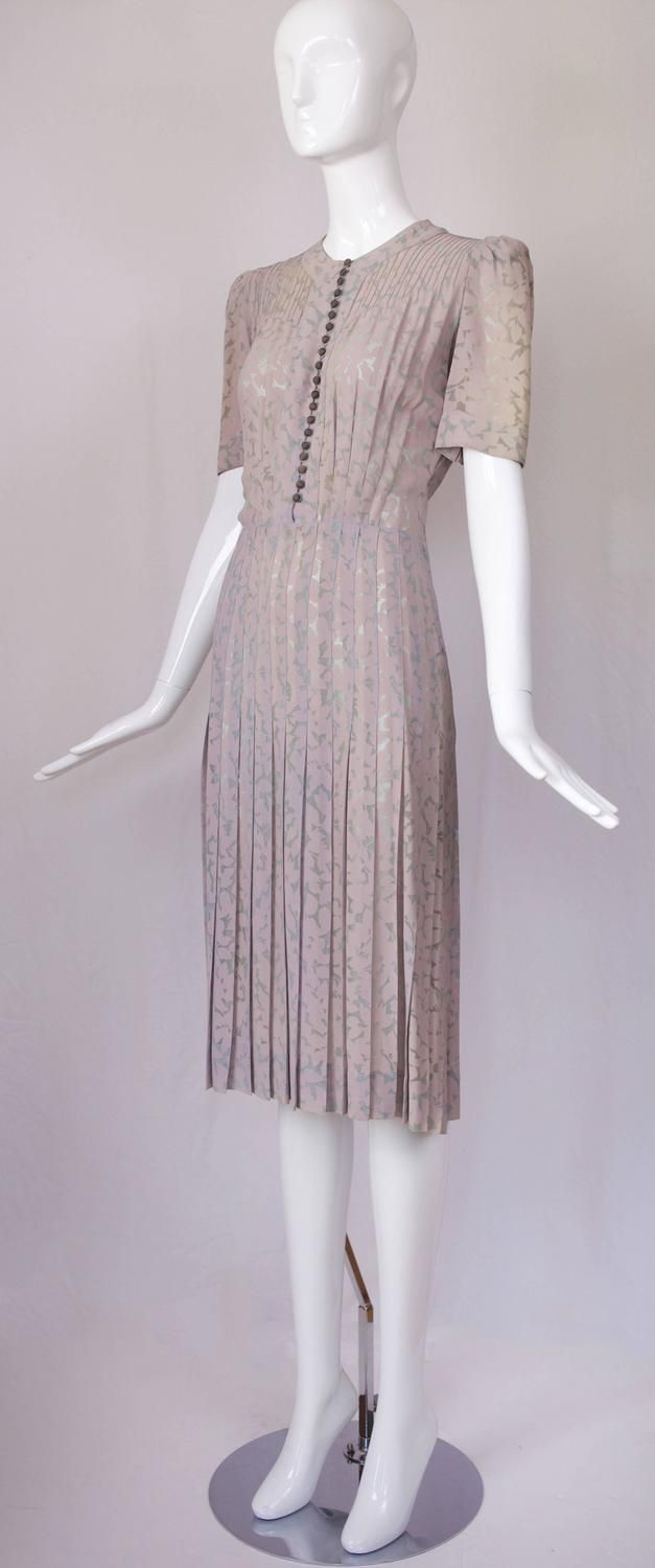 Jeanne Lanvin Floral Voided Crepe Day Dress w/Pin Tucked Detail ca. 1939