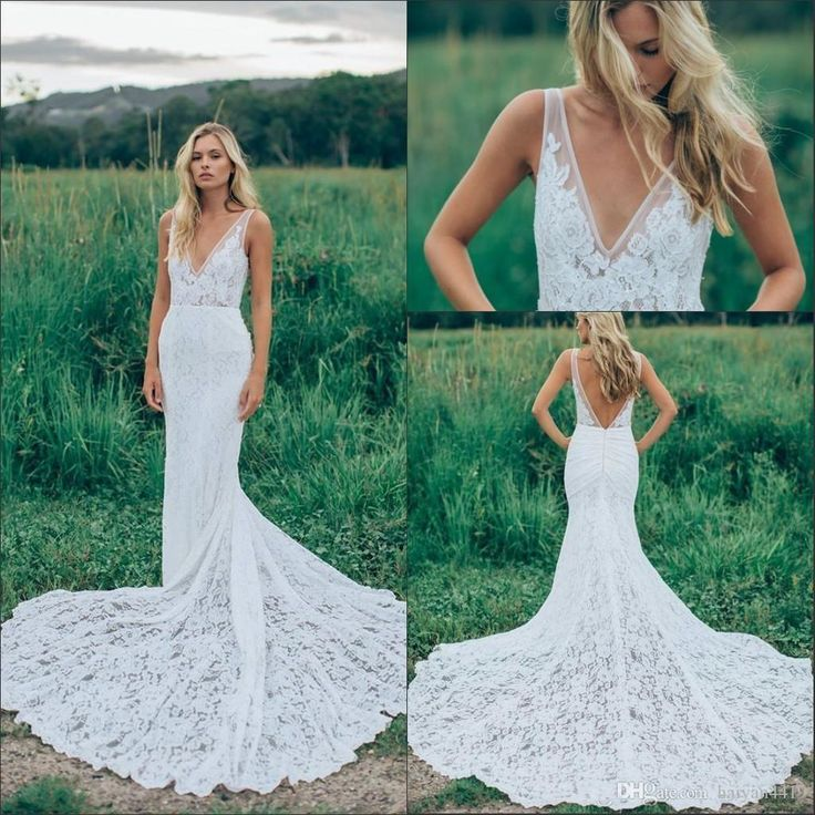 2016 Cheap Summer Beach Sheath Wedding Dresses Bohemian Full Lace V Neck Illusion Court Train Backless Formal Mermaid Plus Size Bridal Gowns