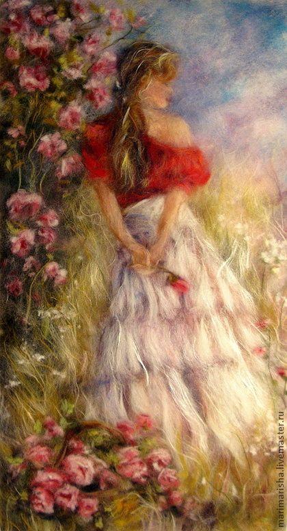 Картина из шерсти Мечты, прекрасные, как розы.... Картина выложена сухой овечьей шерстью под стекло, с небольшим добавлением шелковых волокон, которые придают картине сияние и легкий блеск. Цена без учета стоимости рамы. По почте пересылаю в пластике вместо стекла,…