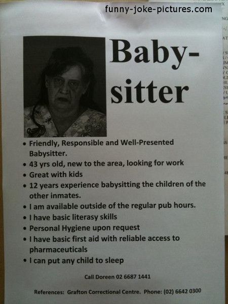 funny dubious babysitter advert picture