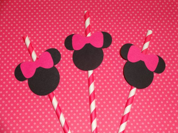 Minnie Mouse Pink Party Straws 6 by TheCutiePieCompany on Etsy, $2.95