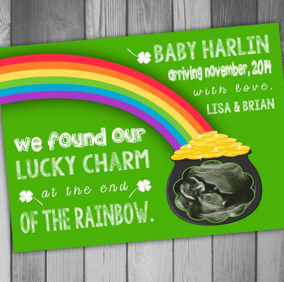 Pregnancy Announcement Baby Announcement St Patricks Day Baby Ultrasound Announcement Printable Pregnancy Announcement