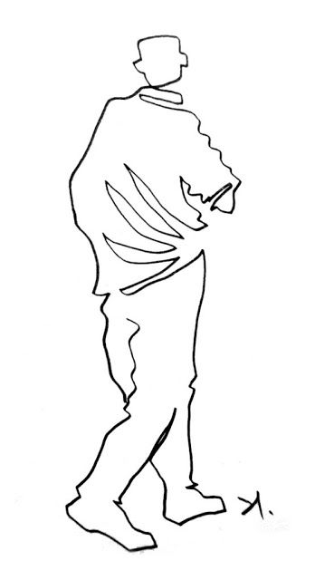 Single line drawing by Daniel Santisteban