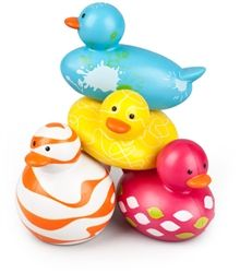 Boon Odd Ducks are PVC free and do not hold water so they will not grow that black mold that kids always try to suck out. BPA, Phthalate and PVC free
