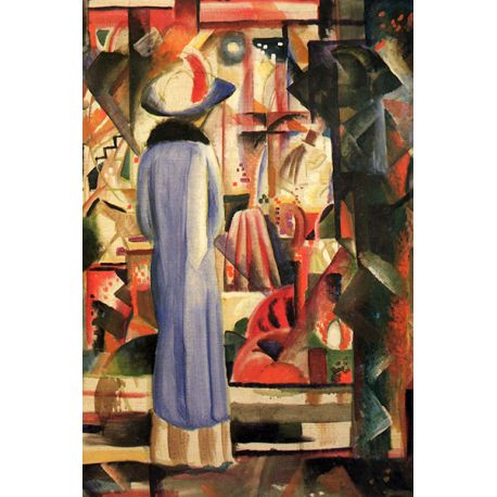 Woman in front of a large illuminated window - August Macke - reprodukcje na płótnie - Fedkolor