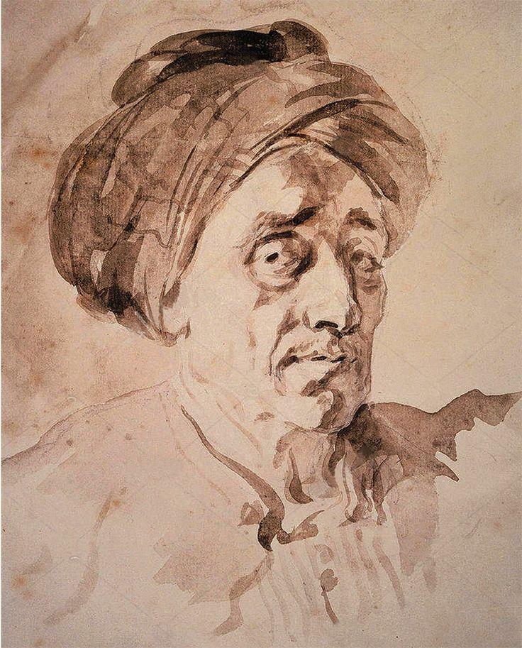 Man Wearing a Turban, by Jean-Honore Fragonard, ca. 1732-1806, ink wash, 11 3/4 x 9 1/2