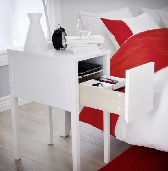 Nordli chevet blanc open backs drawers and shelves for Table de chevet rouge ikea