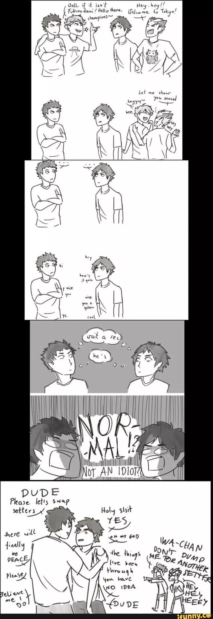 Iwaizumi and Akaashi bonding featuring Oikawa and Bokuto