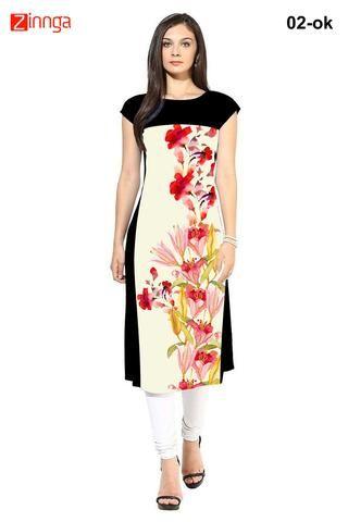 SWAGG INDIA-Attractive women's flower print crepe long kurti- swaggindia- 02-Ok