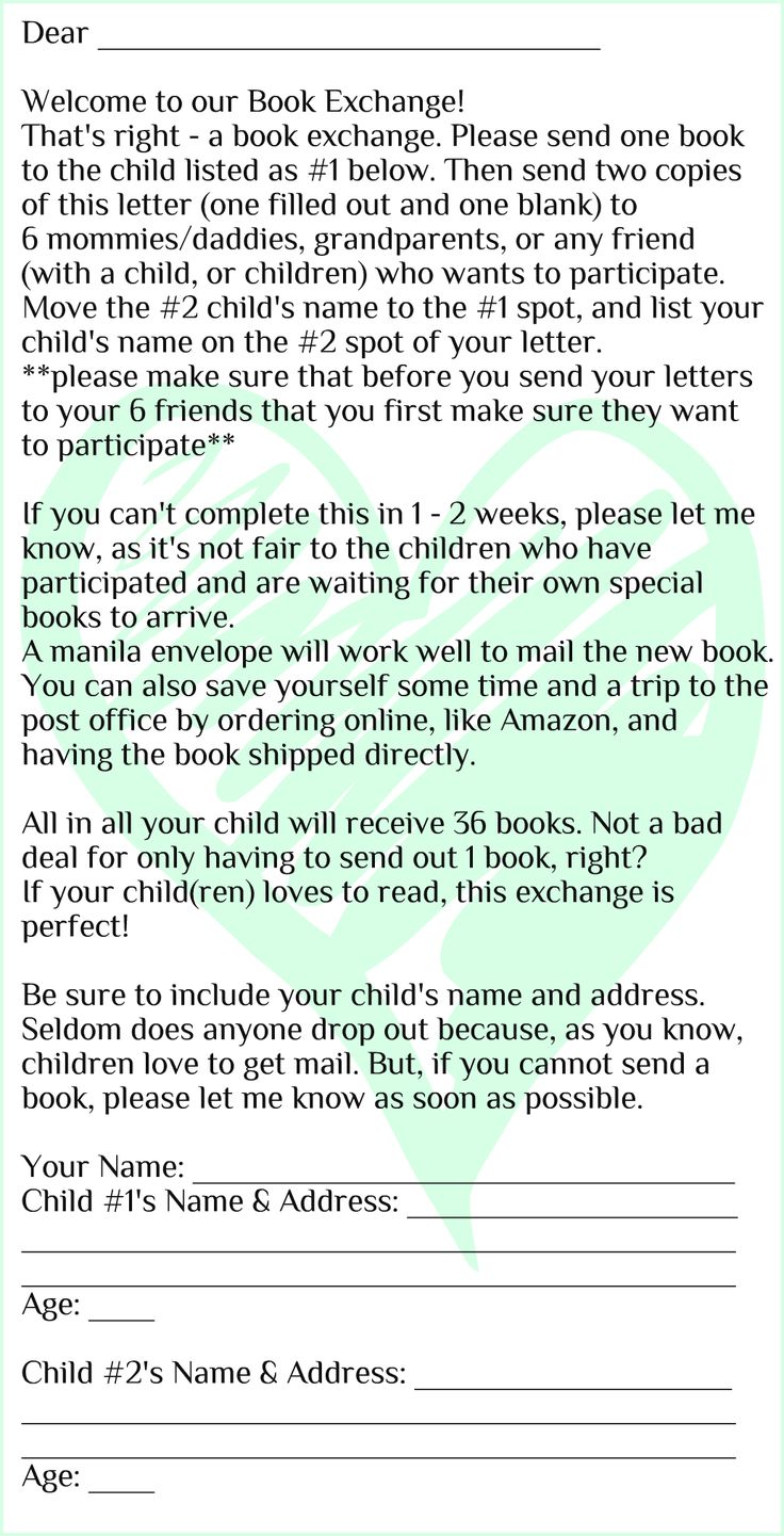 Start a Book Exchange with family and friends (template