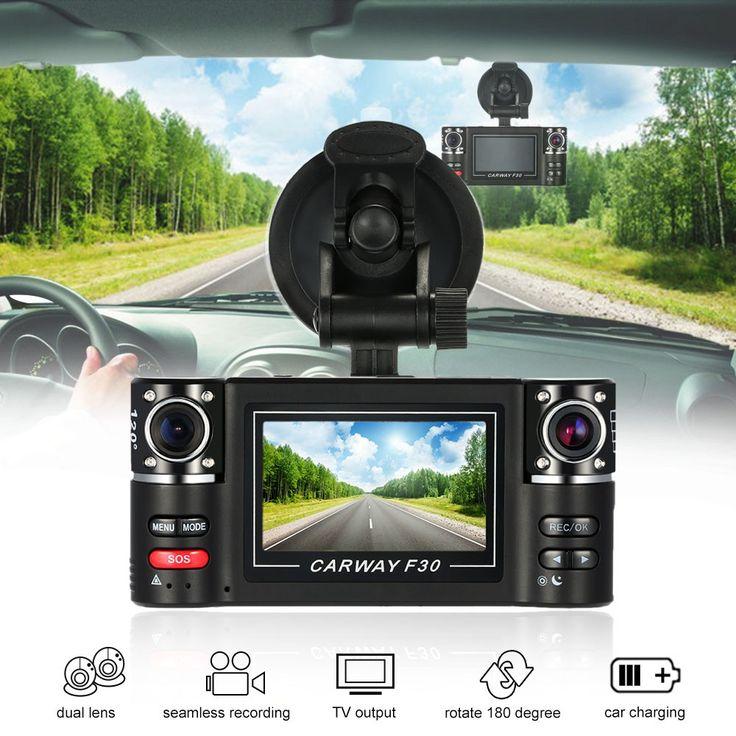 """black F30 Dual Lens Car Driving Recorder 2.7"""" HD Car DVR Dash - Tomtop.com"""