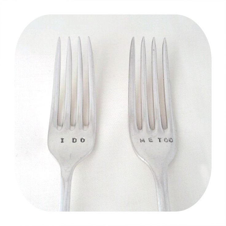 Custom Hand Stamped Vintage I DO ME TOO forks Goozeberry Hill - perfect wedding present