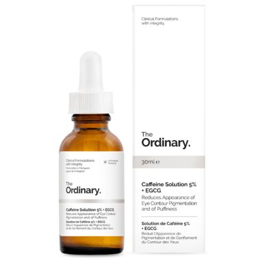 The Ordinary Caffeine Solution 5% + EGCG reduces the appearance of eye contour pigmentation and puff
