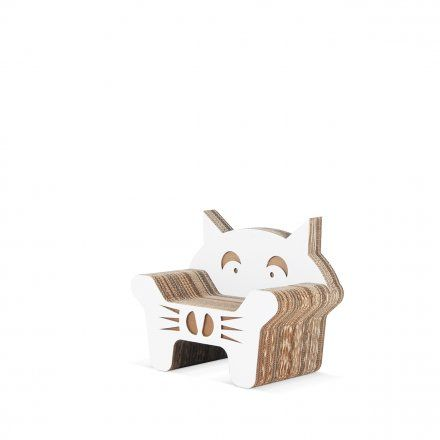 #Gatto is a corrugated cardboard armchair designed for children, with cat shape and original and funny design! #designforkids #cardboard #armchair