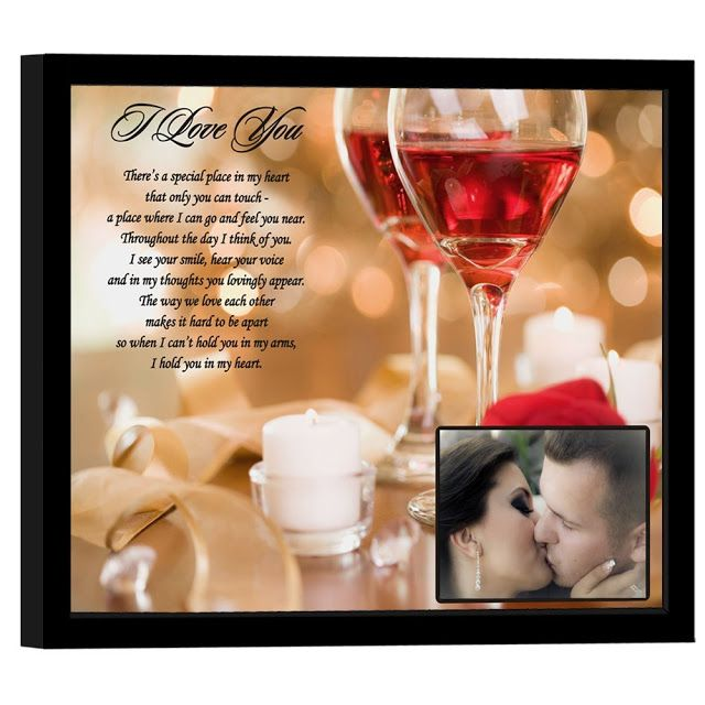 """""""Special Place in My Heart"""" I Love You Valentine Gift For Husband, Wife, Girlfriend or Boyfriend - 8 x 10 inch Frame Touching poem with beautiful rose and wine glass design will make the special someone in your life know just how much you love them."""