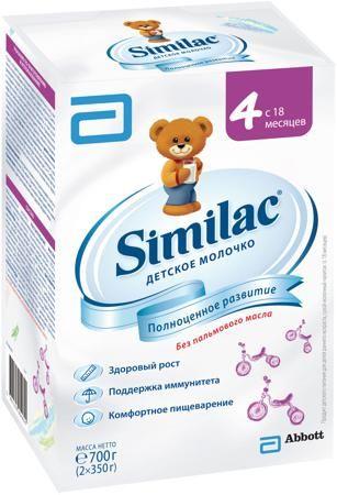 Similac (Abbott) 4 (с 18 месяцев) 700 г  — 487р. --------------- Детское молочко Similac 4 с 18 мес. 700 г. Сухой молочный напиток для детей раннего возраста без пальмового масла. Для полноценного развития малыша до его третьего дня рождения. Содержит пребиотики, способствующие формированию мягкого стула. Без пальмового масла - нежно воздействует на кишечник, способствует формированию мягкого стула и более высокому усвоению кальция. Напиток специально разработан для хорошего усвоения. Смесь…