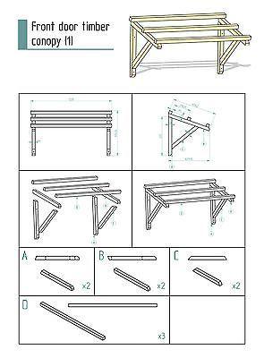 DIY Timber Front Door Canopy Porch  (120cm)