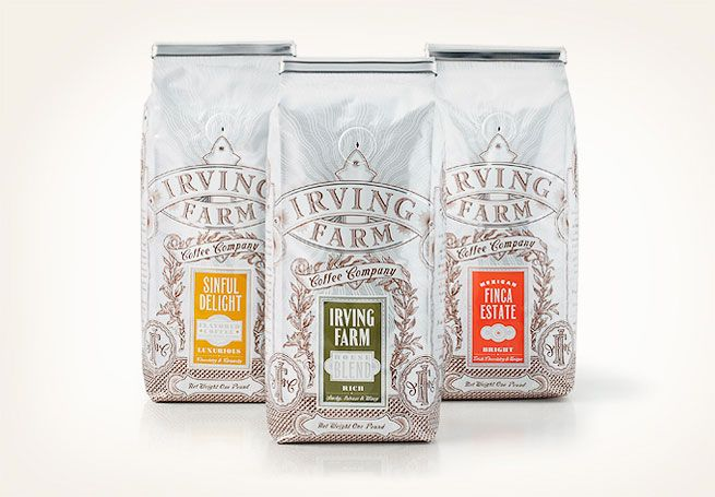 irving farm coffee promo packaging.  i love the simple idea of keeping the bag's design the same while having different stickers for the different coffee blends. the finished product looks consistent, saves on waste, and looks just lovely.