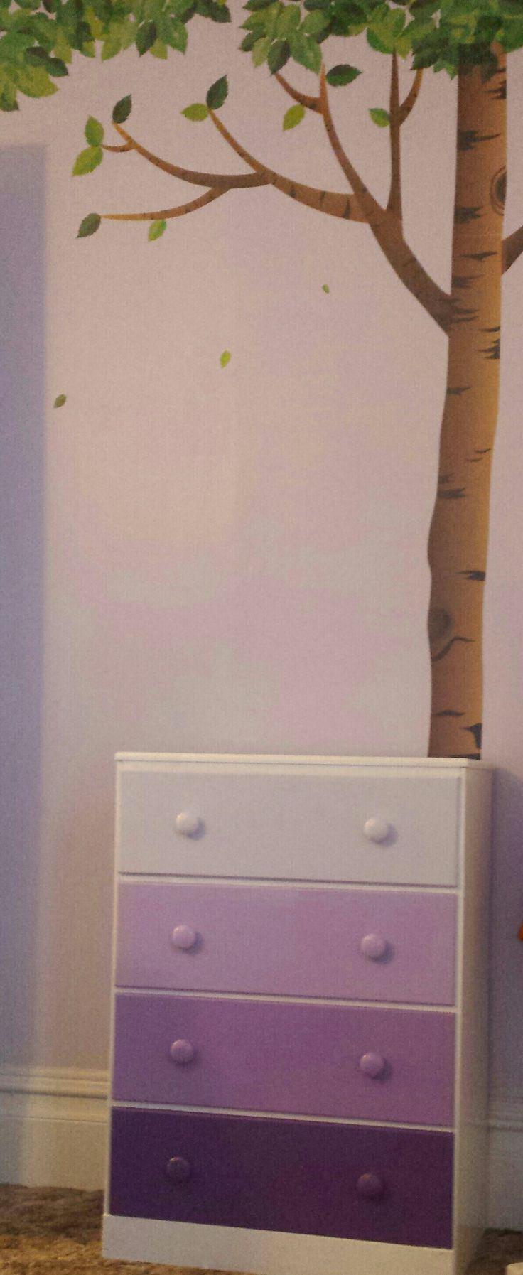 Gradient purple dresser drawers