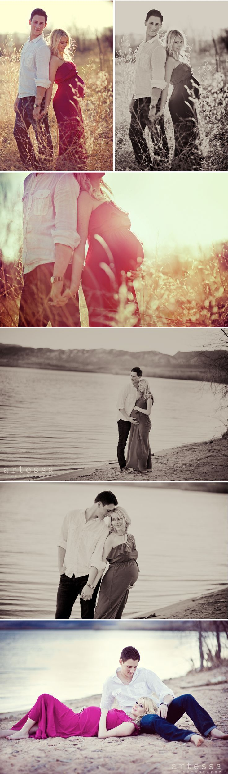 I like the variety of different pictures, using two different locations such as the beach and the long grass.