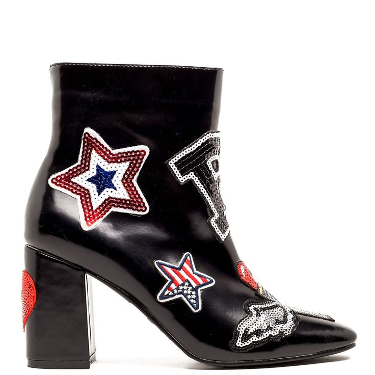 Black bootie with patches