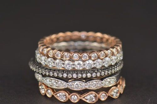 stacked wedding bands in mix of rose gold and white gold