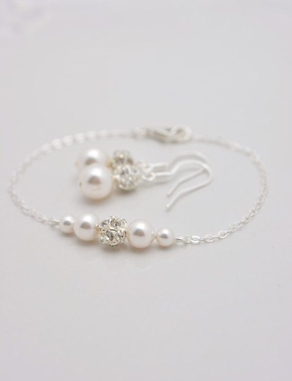 Set Of 7 Pearl Bracelets And Earrings Sets Bridesmaid