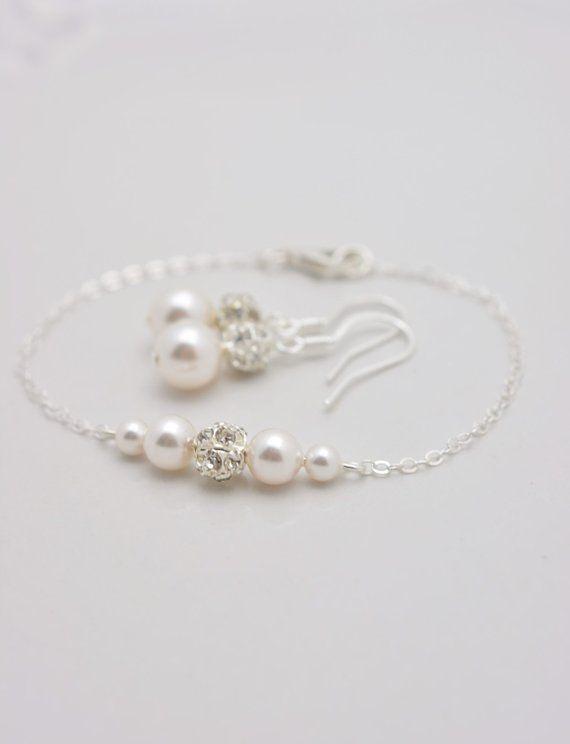 Set Of 7 Pearl Bracelets And Earrings Sets Bridesmaid