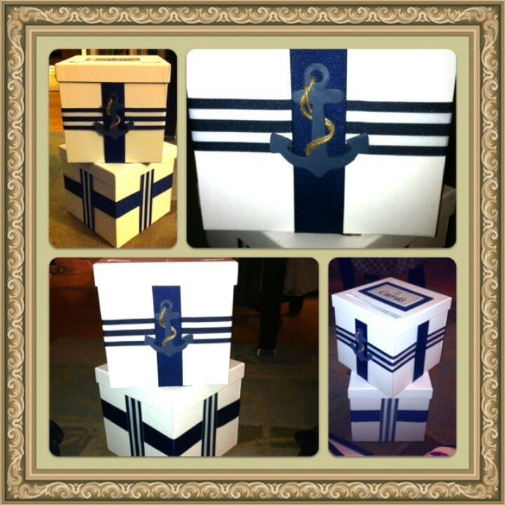 Great idea for a nautical themed wedding card box. Custom designed by Camille's Concepts! Click this link to visit the website page: http://www.camillesconcepts.com/#!__interior-designer/project-gallery/vstc6=event-design/photostackergallery7=13