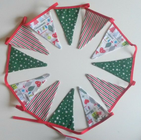 Christmas Bunting Fabric Bunting Red White and by LittleTsTextiles