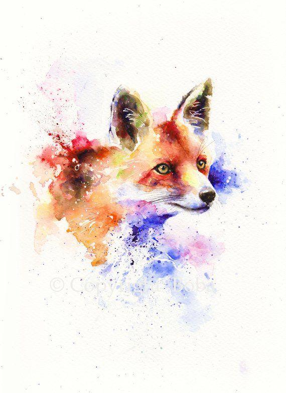 Red Fox Original Watercolor Art Fox Painting Original Watercolor